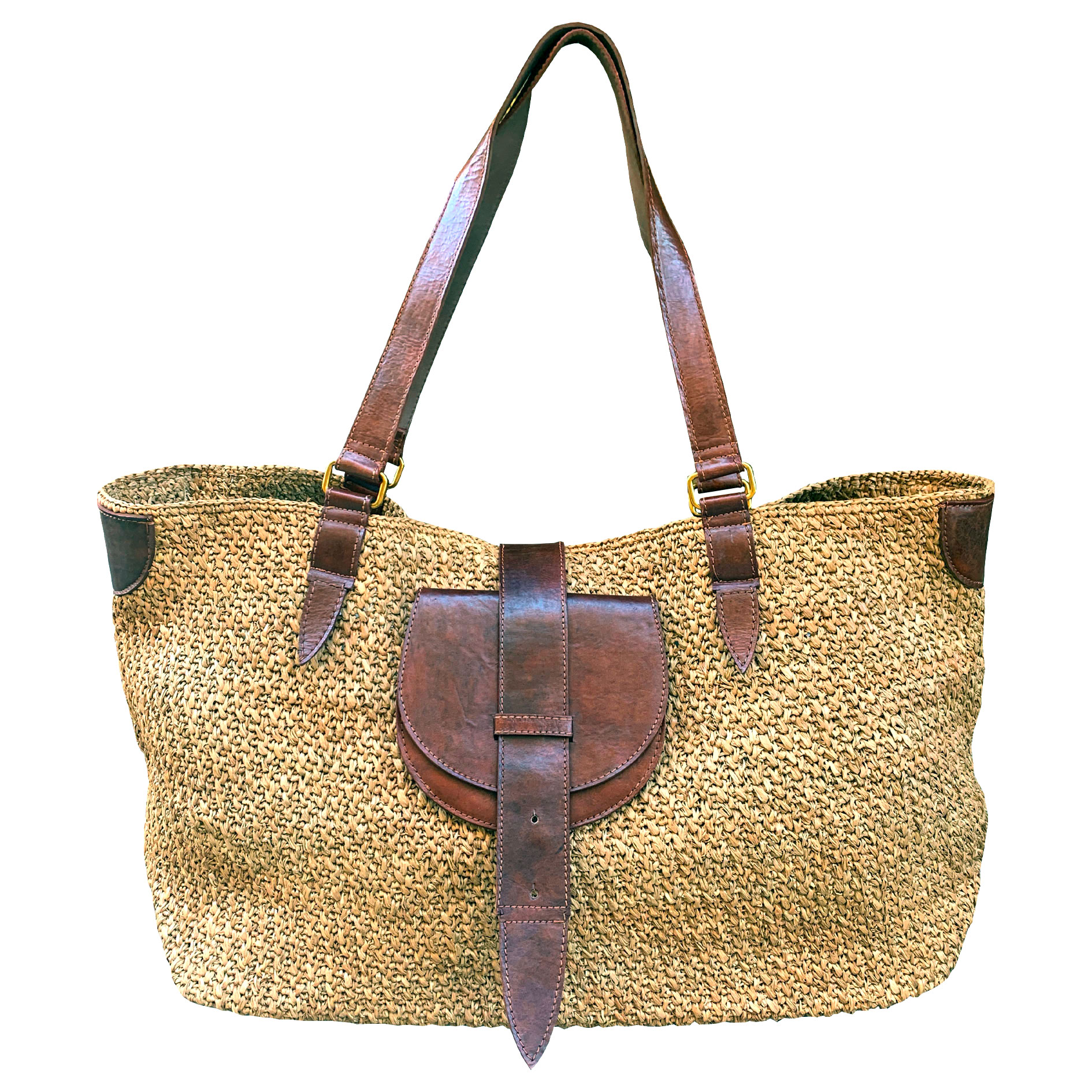 Sac cabas raphia naturel cuir marron